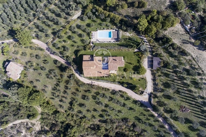 The villa, restored in 2005, is divided into two living units connected one another by a l