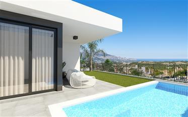 Maison de style moderne avec vue sur la mer à Polop, Costa Blanca Nord, Alicante, Espagne