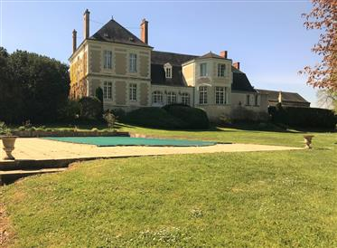 Superb mansion, gite and outbuildings, 11 hectares at the ga...