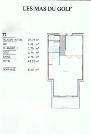 43 sqm apartment with independant bedroom, Golf Saint Thomas