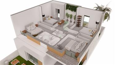 Contemporary semi-detached villa T4 with swimming pool under construction