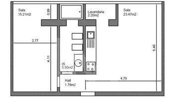 Apartamento T1 em Santa Apolónia