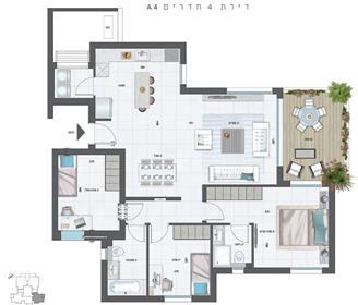 """דירה : 127 מ""""ר"""