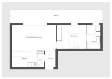 Appartement T2 de 47m² avec balcon de 20m² Loue