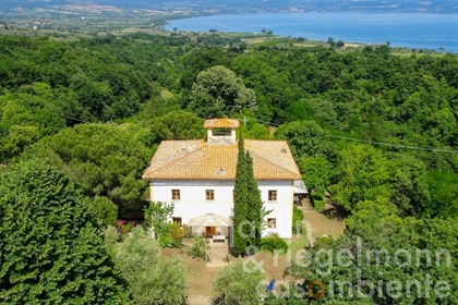 Restored villa for sale on Lago di Bolsena with view onto the lake