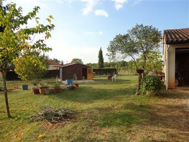 Maison contemporaine de plain pied avec garage et chalet bois