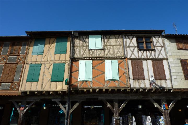 Half timbered houses in Mirepoix, Ariège